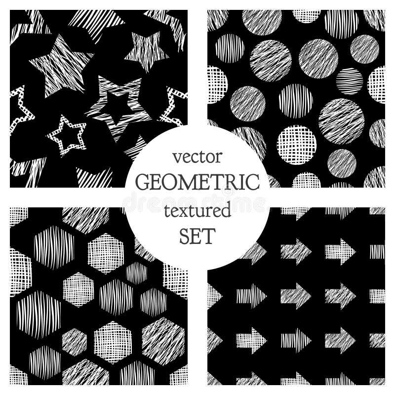 El sistema de modelos geométricos del vector inconsútil con rectángulos, círculo, flechas, protagoniza Fondo sin fin en colores p ilustración del vector