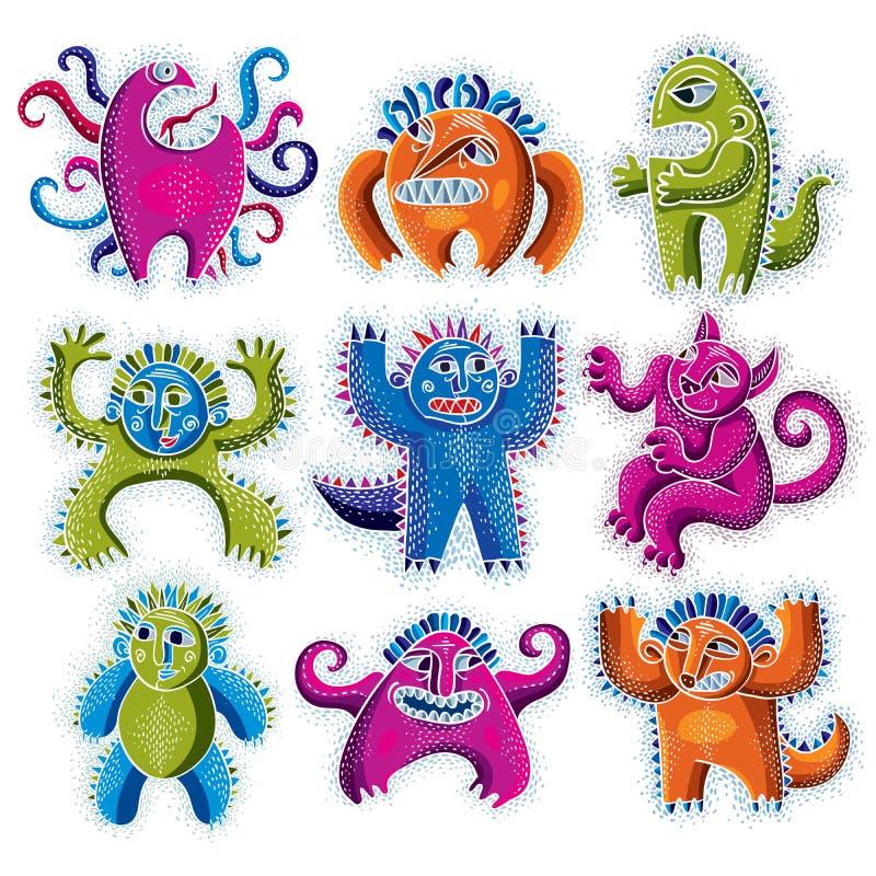 El sistema de monstruos del carácter vector el ejemplo plano, colección o stock de ilustración