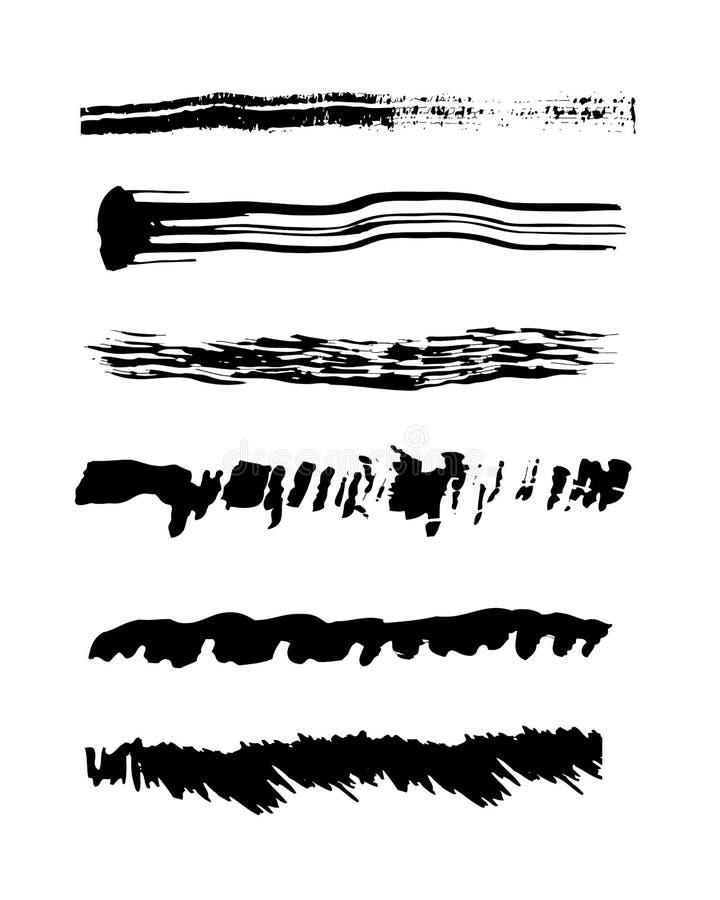 El sistema de movimientos del cepillo del vector texturiza negro grueso libre illustration