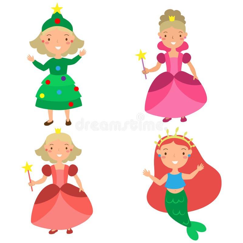 El sistema de muchachas en la Navidad viste velos lindos stock de ilustración
