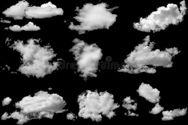 El sistema de nubes blancas en elementos aislados ennegrece el fondo fotografía de archivo