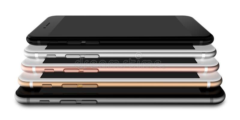 El sistema de oro de cinco smartphones, subió, se platea, se ennegrece y se ennegrece pulido ilustración del vector