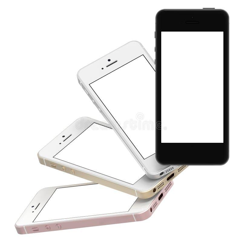 El sistema de oro de cuatro smartphones, subió, plata y negro con la pantalla en blanco stock de ilustración