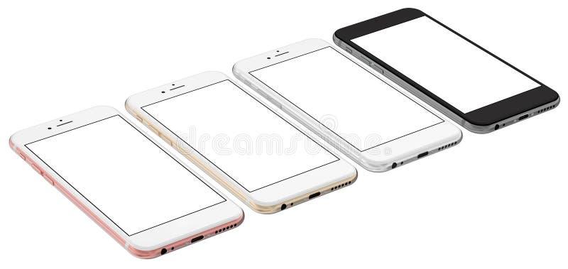 El sistema de oro de cuatro smartphones, subió, plata y negro con la pantalla en blanco Cámara verdadera stock de ilustración
