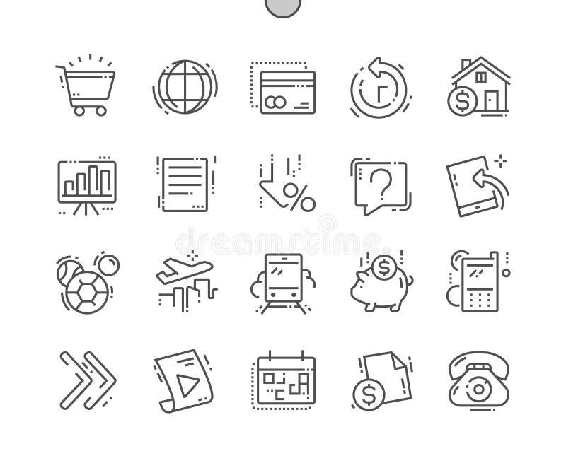 El sistema de pago Bien-hizo la línea fina rejilla 2x de los iconos 30 del vector a mano perfecto del pixel para los gráficos y A libre illustration