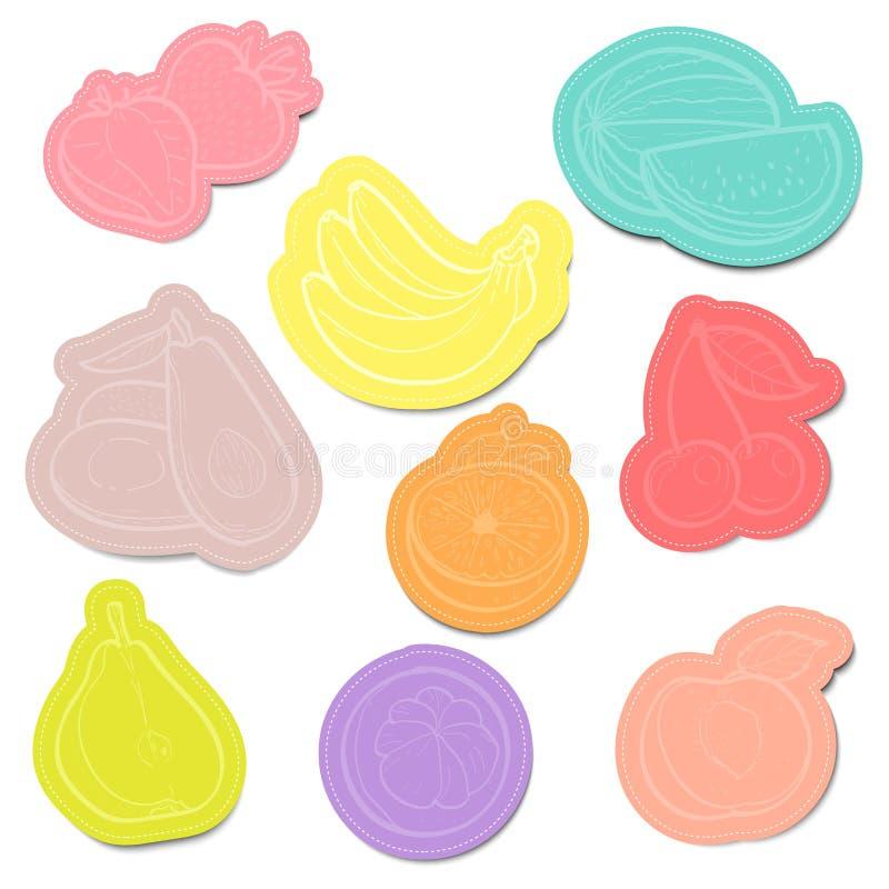 El sistema de papeles de nota pegajosos del color da fruto con ilustración del vector