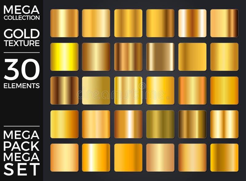El sistema de pendientes del oro, colección de oro del vector de los cuadrados, texturiza al grupo stock de ilustración