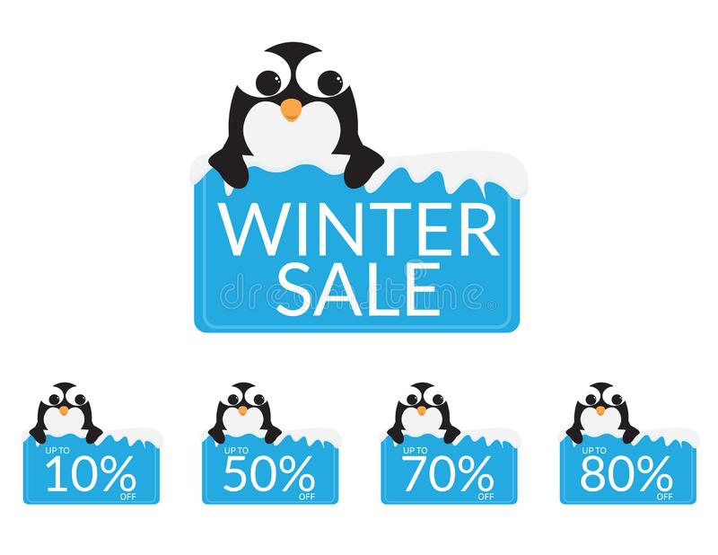 El sistema de pingüinos lindos detrás de una muestra azul con nieve, los descuentos y la venta del invierno mandan un SMS stock de ilustración
