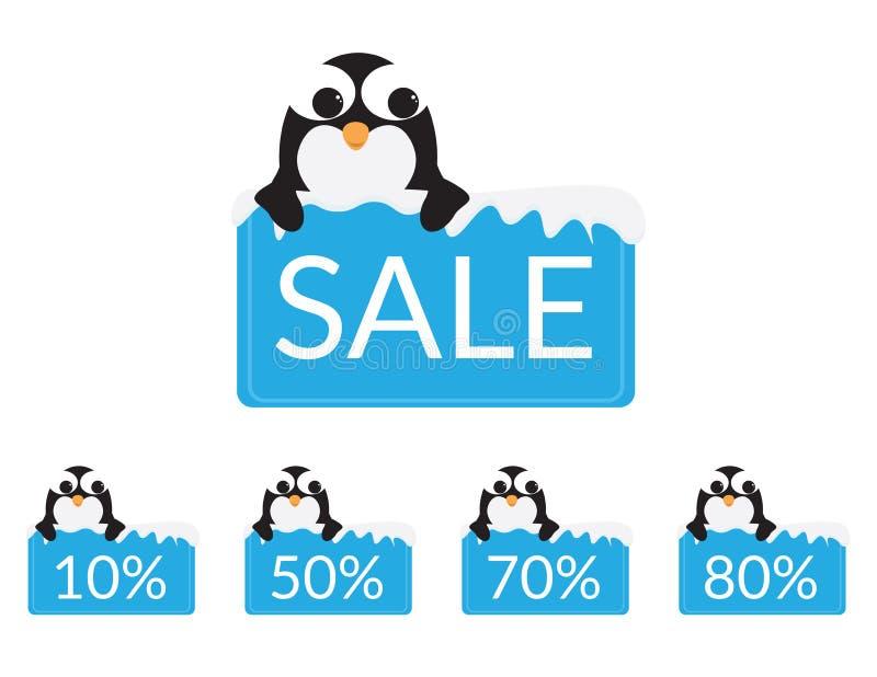 El sistema de pingüinos lindos detrás de una muestra azul con nieve, los descuentos y la venta mandan un SMS ilustración del vector