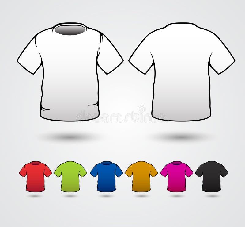 El sistema de plantillas coloreó las camisetas stock de ilustración