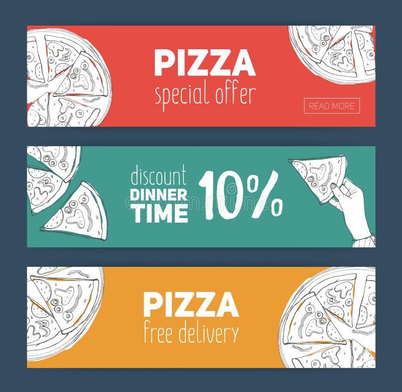 El sistema de plantillas coloridas de la bandera con la pizza dibujada mano cortó en rebanadas La oferta especial, el descuento d ilustración del vector