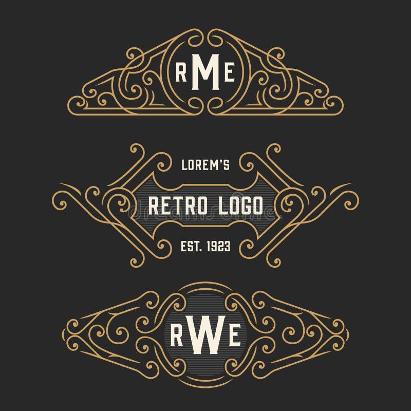 El sistema de plantillas retras elegantes del logotipo y del emblema Vector común stock de ilustración