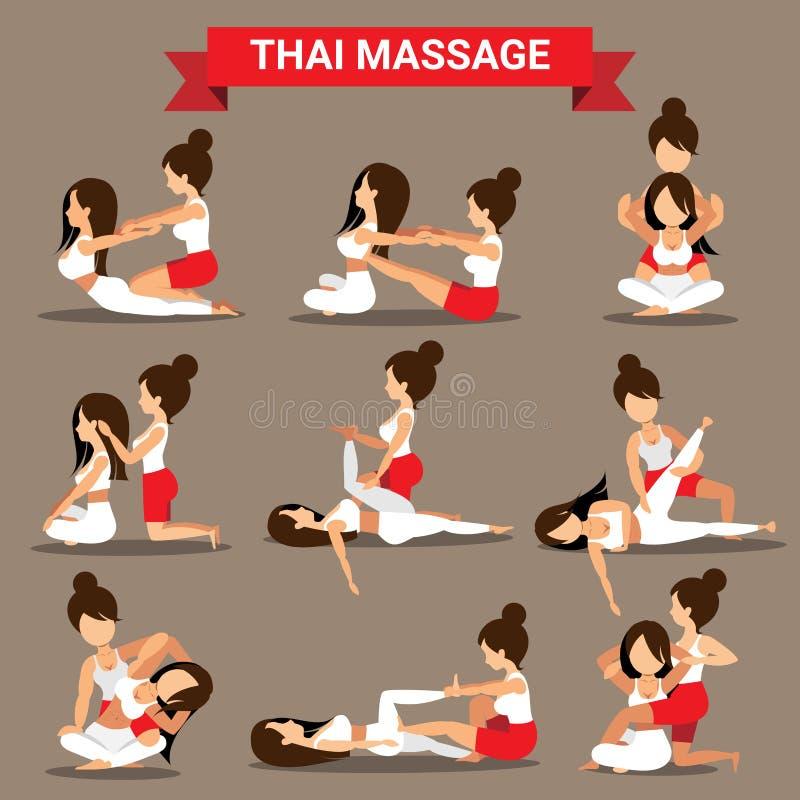 El sistema de posiciones tailandesas del masaje diseña para healty libre illustration