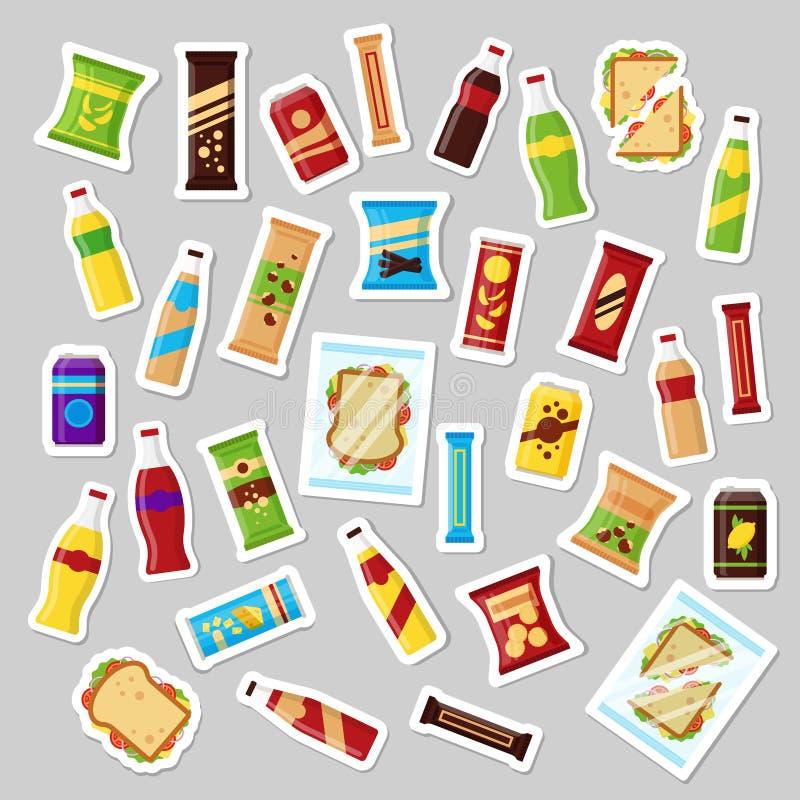 El sistema de producto del bocado, insignias del remiendo los bocados de los alimentos de preparación rápida bebe el bocadillo de libre illustration