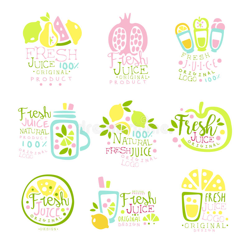 El sistema de producto fresco natural del jugo de plantillas del logotipo da ejemplos coloridos exhaustos del vector ilustración del vector