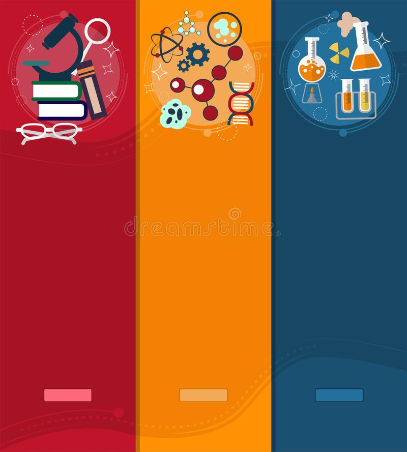El sistema de química de las banderas y la física diseñan los elementos, símbolos, iconos libre illustration