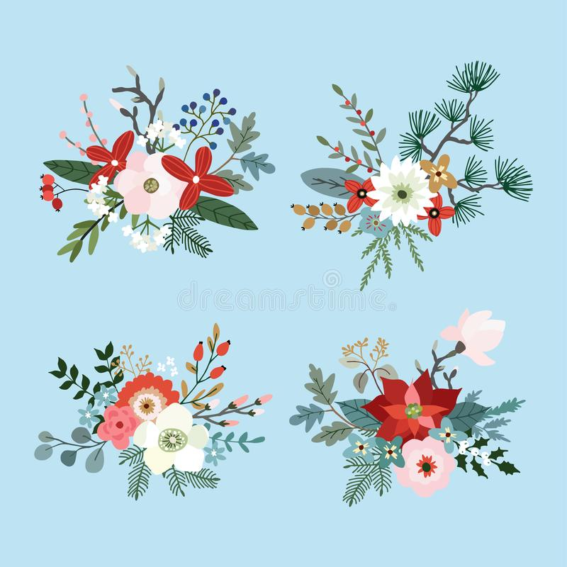 El sistema de ramos de la Navidad hechos de las ramas de árbol del abeto, del pino y de eucalipto, poinsetia, momias, magnolia fl ilustración del vector