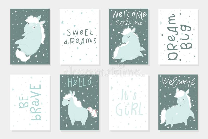 El sistema de 8 redy para utilizar tarjetas con los pequeños caballos lindos da ejemplos exhaustos ilustración del vector