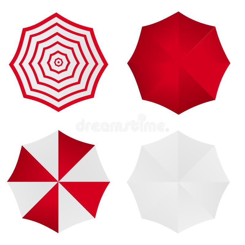 El sistema de rojo blanco rayó la obra clásica en blanco abierta alrededor del paraguas de la lluvia Mofa de la visión superior p ilustración del vector