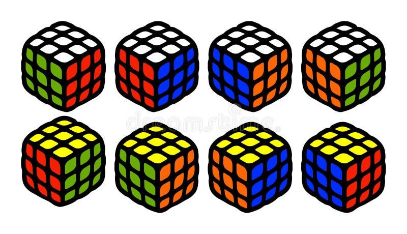 El sistema de rubik solucionado cubica de cada lado todo el vector de posiciones montado posible que el ejemplo lindo aisló en el stock de ilustración