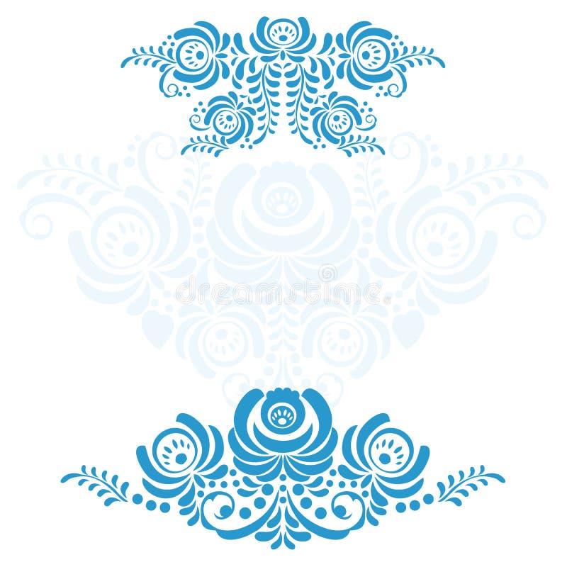 El sistema de ruso de los elementos adorna Gzhel libre illustration