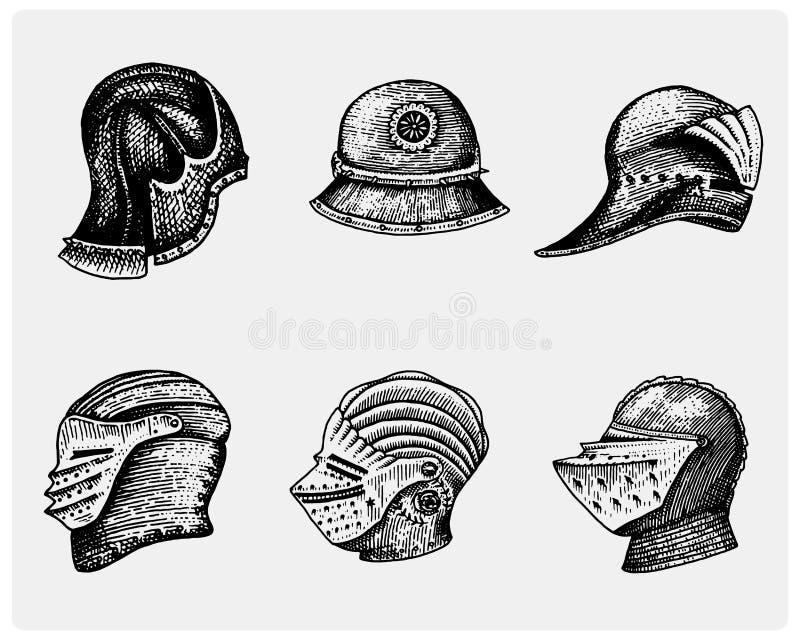 El sistema de símbolos medievales lucha los cascos para los caballeros o los reyes, el vintage, la mano grabada dibujada en bosqu stock de ilustración