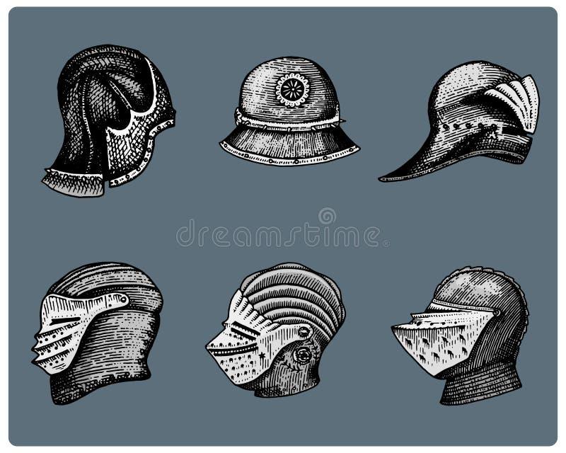 El sistema de símbolos medievales lucha los cascos para los caballeros o los reyes, el vintage, la mano grabada dibujada en bosqu libre illustration