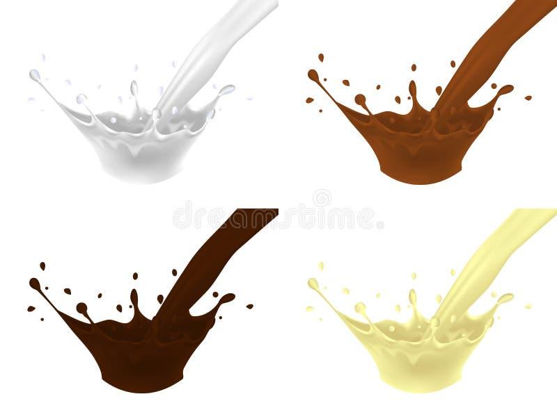 El sistema de salpica de un jet de la leche, chocolate con leche, chocolate oscuro, chocolate blanco stock de ilustración