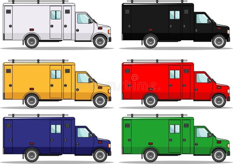 El sistema de seis coloreó los coches aislados en blanco ilustración del vector