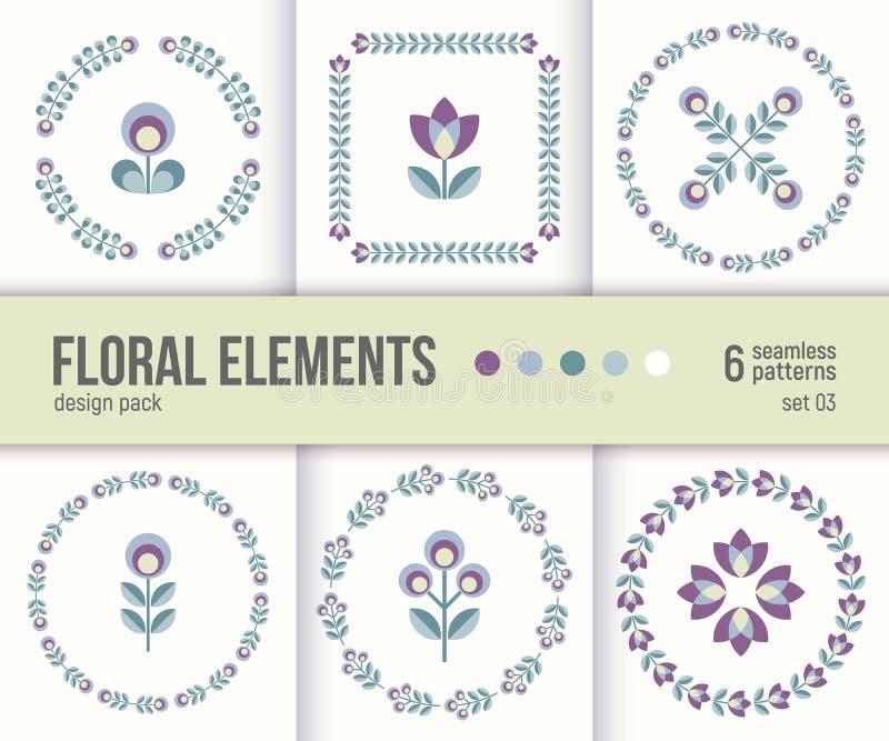 El sistema de seis elementos del diseño floral del vector y enrruella ilustración del vector