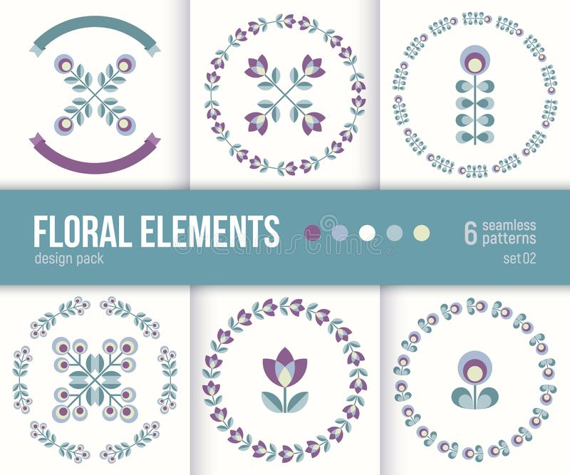 El sistema de seis elementos del diseño floral del vector y enrruella libre illustration