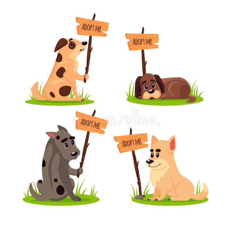 El sistema de sentar perros sin hogar con un cartel me adopta No compre - ayude a los animales sin hogar a encontrar un hogar, eq ilustración del vector