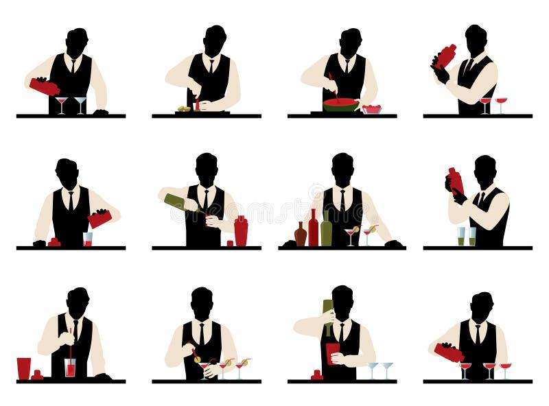 El sistema de siluetas de un camarero prepara el stoc del vector de los cócteles ilustración del vector