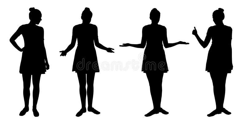 El sistema de siluetas realistas de colocar a mujeres jovenes adentro differen ilustración del vector