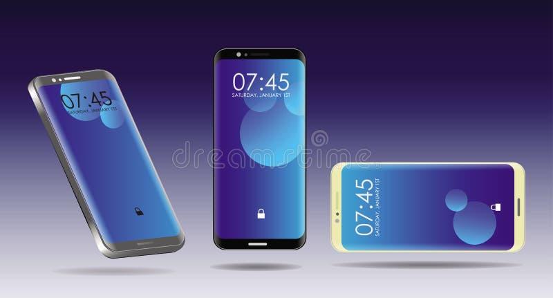 El sistema de smartphone con el dispositivo de tres estilos, colorea modo completo libre illustration