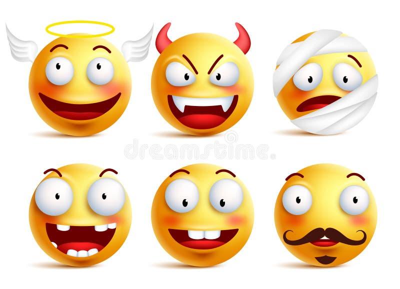 El sistema de smiley del vector con las caras divertidas le gusta ángel y del demonio ilustración del vector
