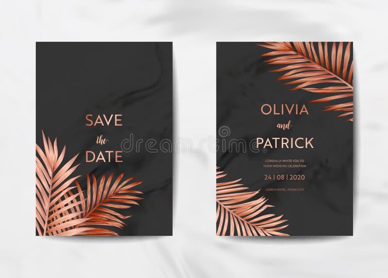 El sistema de tarjeta de la invitación de la boda, ahorra la fecha con el fondo de mármol de moda de la textura y el diseño tropi stock de ilustración