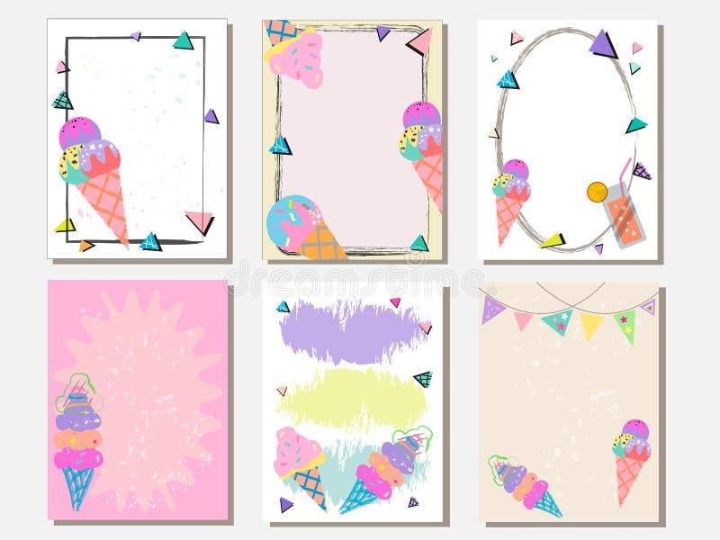 El sistema de tarjeta lindo del vector helado Tarjetas del vintage con los modelos y los ornamentos Dé el sistema de tarjeta exha libre illustration