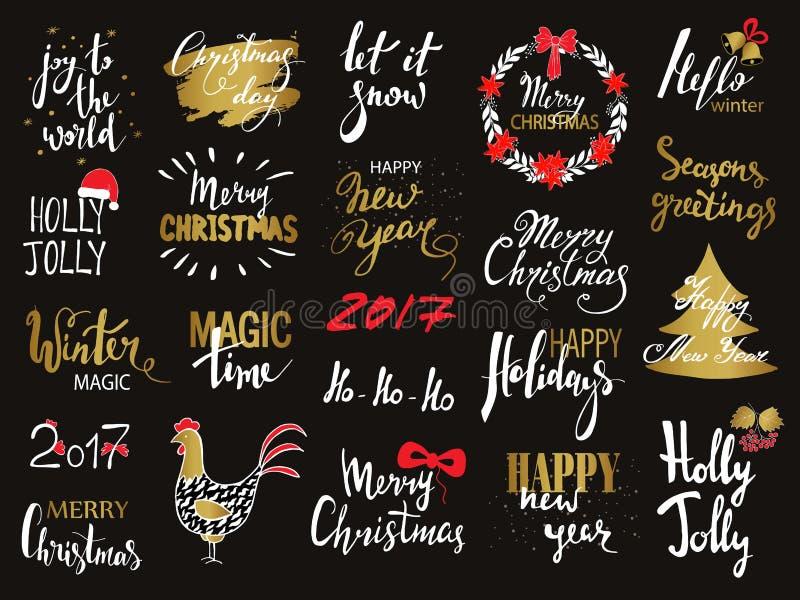 El sistema de texto de la Feliz Navidad, las letras dibujadas mano y la tipografía de la Feliz Año Nuevo diseñan Para las tarjeta ilustración del vector