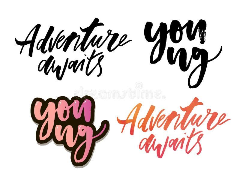 El sistema de tipografía única dibujada mano del vector de la aventura y del viaje diseña el elemento para las tarjetas de felici stock de ilustración