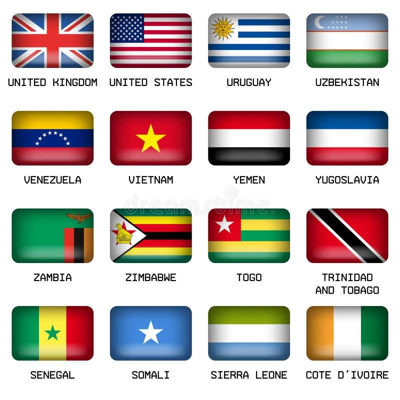El sistema de top del mundo del rectángulo indica banderas ilustración del vector