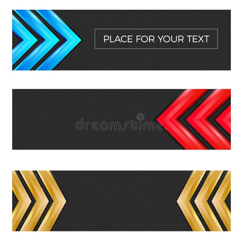 El sistema de tres texturizó banderas con las flechas brillantes stock de ilustración