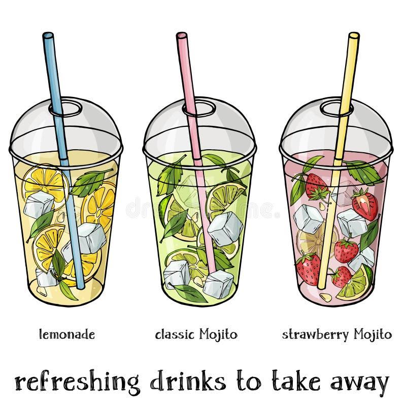 El sistema de verano sin alcohol bebe en una taza plástica para llevarse Limonada, fresa y obra clásica Mojito ilustración del vector