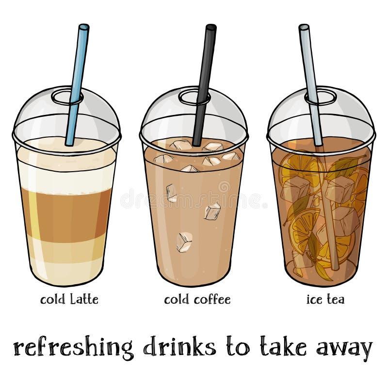 El sistema de verano suave bebe en una taza plástica para llevarse Café helado, Latte helado y té stock de ilustración