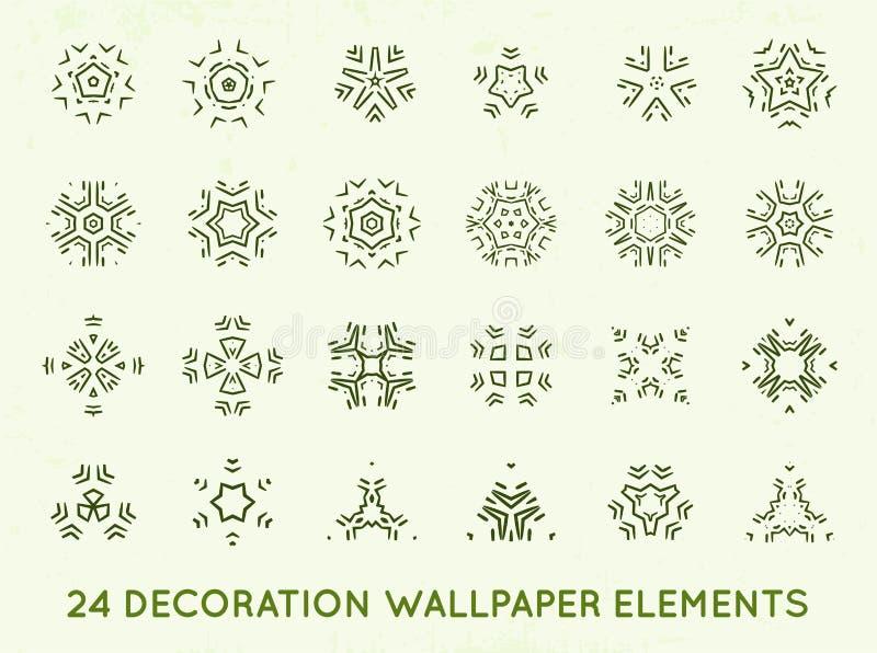 El sistema de vintage mínimo del fondo de la decoración forma la colección ilustración del vector