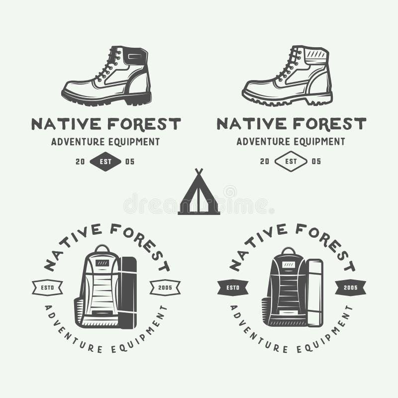 El sistema de vintage que acampa al aire libre y se aventura los logotipos, insignias libre illustration