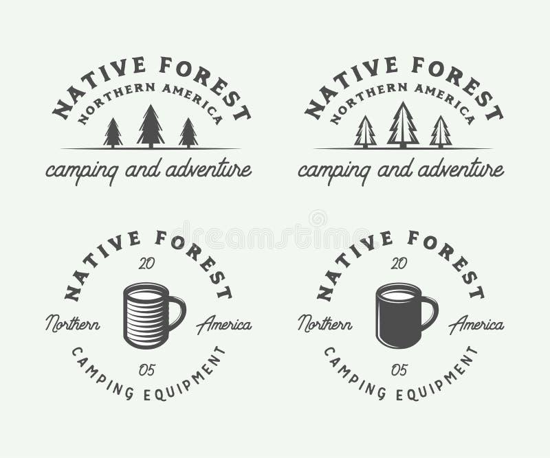 El sistema de vintage que acampa al aire libre y se aventura los logotipos, insignias ilustración del vector