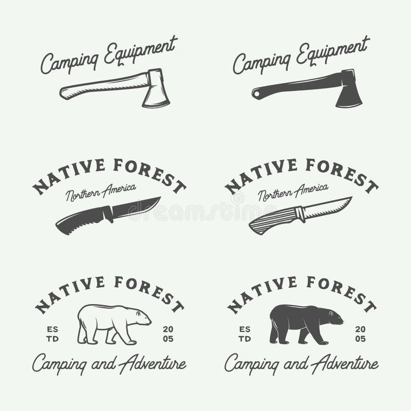 El sistema de vintage que acampa al aire libre y se aventura los logotipos, insignias stock de ilustración