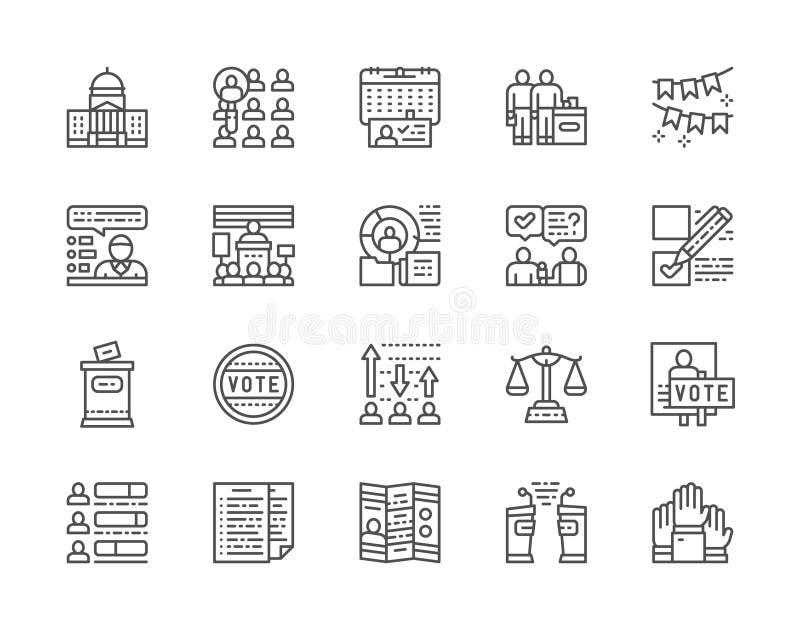 El sistema de votaci?n y las elecciones alinean iconos Pol?tico, discusiones, voto y m?s stock de ilustración