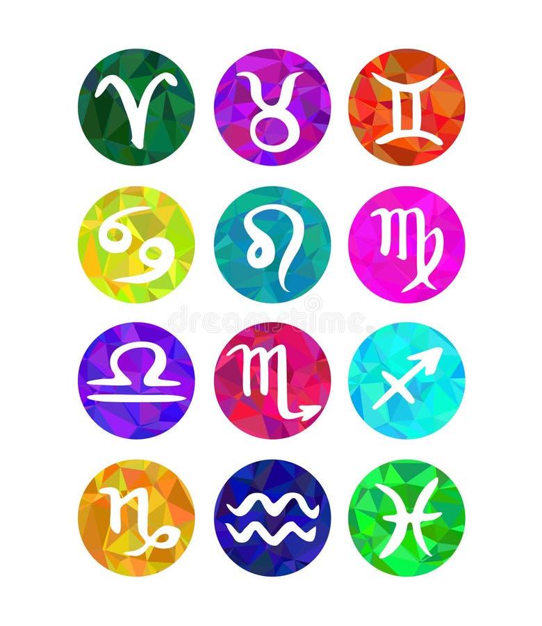 El sistema de zodiaco caligráfico firma, los símbolos del horóscopo Estilo poligonal stock de ilustración